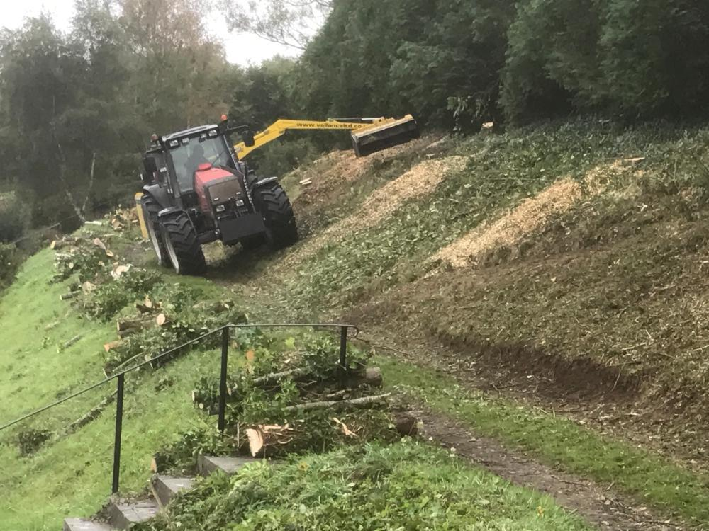 Vallance tractor cutting hedge and clearing trees